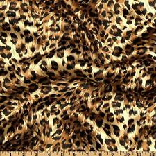 "5 Yards 60"" Large Print Cheetah Leopard Animal Silky Charmeuse Satin Fabric"