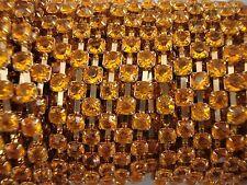 Acrylic 4mm Rhinestone Chain 1m Orange/Gold Costume Sew Dance FREE POSTAGE