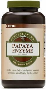 GNC Natural Brand Papaya Enzyme 600 Chewable Tablets