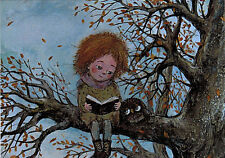 GIRL SITS ON A TREE AND READS TO OWL Modern Russian postcard by N.Chakvetadze