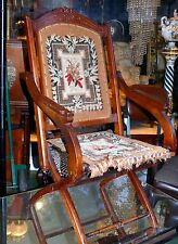 Antique 19th Arts & Crafts Eastlake Campaign Chair Walnut Wood Tapestry Folding