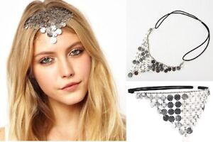 WHH31 White Chapel Bridal Gatsby Bohemian Silver Goddess Chip Headpiece Headband
