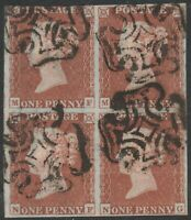 1841 SG8 1d RED BROWN PLATE 19 GOOD/FINE USED BLOCK OF 4 MALTESE CROSSES (MF/NG)