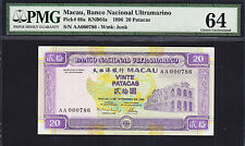 Macau 20 Patacas 1996 Holy Serial AA 000786 Pick-66a CH UNC PMG 64
