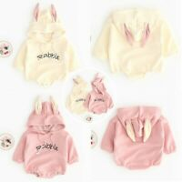 Newborn Baby Girls Romper Rabbit Costumes Tops Hooded Bodysuit Outfits Clothes