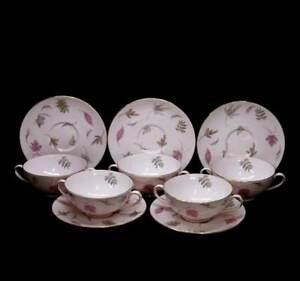 Vintage Tuscan Windswept pastel pink set of 5 soup coupes & saucers