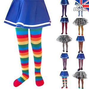 Kid Girl Rainbow Striped Sock Pantyhose Tights Halloween Cosplay Party Stockings