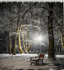Park Bench Snow Winter Walk Fabric SHOWER CURTAIN Night Light Trees Woods Bath