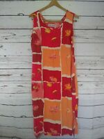 Jams World HEARTBREAK Dress Sz M Floral Midi Hawaiian Sun Dress Pockets Buttons