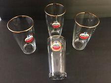 Lot of 4 Imported Amstel Light Lager Heavy Glass Gold Rim Pint Beer Glasses