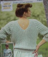 Original Vintage Lister Lee Knitting Pattern Lady's DK Lacy Sweater with Back V
