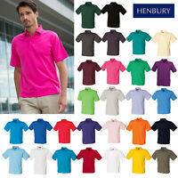 Henbury 65/35 Classic Pique Polo Shirt H400-Unisex Casual Plain Collared T-Shirt