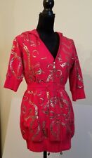 Coogi Sz L Women's Red Zip Up Sexy Hoodie Lined Light Jacket Dress Foil Print