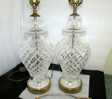 "PAIR (2) WATERFORD CRYSTAL GINGER JAR TABLE LAMPS 28"" VINTAGE MADE IN IRELAND"