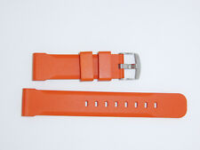 Bonetto Cinturini (Italy) Rubber Watch Band 22 mm , Orange, Model 317