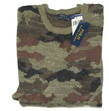 Polo Ralph Lauren Farm Olive Camo Camouflage Knit Crewneck Pullover Sweater NWT