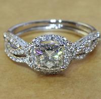1.50CT Cushion-Cut Diamond Halo Bridal Set Engagement Ring 10k White Gold Finish