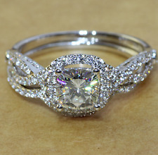 1.50CT Cushion-Cut Delicated Diamond Halo Engagement Ring 10k White Gold Over