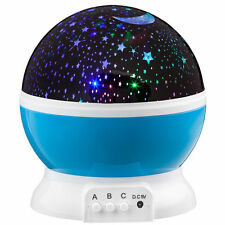 Starry Kids Room Desk Lamp Rotating Star Moon Sky Rotation Night Projector Light