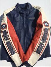 Harley Davidson Men RAPID CITY Leather Jacket Medium White Blue Red Capt America