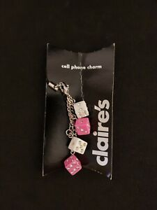 New Claire's Cell Phone Charm Cartoon Shinny Dice Pink White