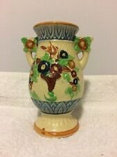 VINTAGE VASE MADE IN JAPAN, COLORFUL FLORAL PATTERN WITH HANDLES AND IMARI MARK