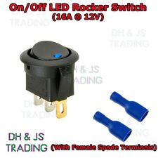 Blue 12v Rocker Switch On/Off Illuminated Car Dash Panel Light With Connectors