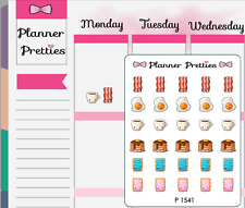 P1541 Kawaii Breakfast Food/Coffee Planner Stickers