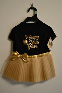 Holiday Tails NWT Large 17-19 Party Starters Dog Dress Black Gold Happy New Year