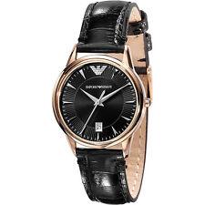 Armani Emporio Classic Leather Black / Gold Quartz Analog Women's Watch AR2445