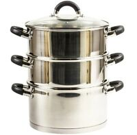 20cm Stainless Steel Steamer With Glass Lid Multi Food Cook Pot Pan Set 3 Tier
