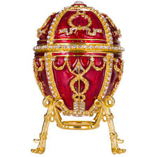 Russian Faberge Rosebud Egg / Trinket Jewel Box with Flower & Pendant 3.8' red