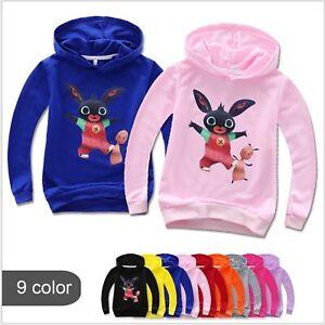 Boy Girls Binb Bunny Pullover Sweatshirt Long Sleeve Hooded Hoodie Jumper Tshirt