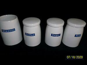Vintage Woolworths Tea, Coffee, Sugar and Utensils Storage Jars
