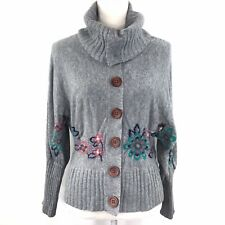 Anthropologie Sleeping On Snow Gray Floral Embroidery High Neck Cardigan Women S