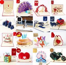3D Pop Up Tarjeta Cumpleaños Boda Aniversario Invitaciones Tarjetas de felicitación de San Valentín
