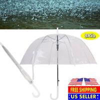 "46"" Arc Clear Full Dome Umbrella -Rain Bubble Travel Large Transparent Automatic"