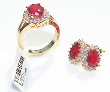 Ruby Oval Yellow Gold Filled Costume Rings