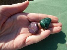 2 x EMERALD & RUBY Polished Crystal Pebbles India 23mm