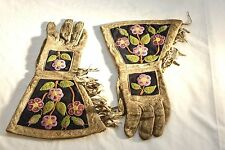 Late 1800's Native American Indian Fringed Beaded, Cloth Lined Gauntlet Gloves