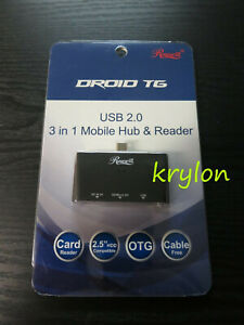 Rosewill Mobile OTG SD Micro USB 2.0 SD Card Reader Retail Kit Droid TG Hub SDHC