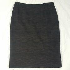 Hobbs Wool Blend Black Brown Pencil Wiggle Skirt Smart Career Wear Size UK 14