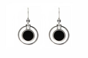 Sterling Silver Onyx Earrings Natural Stone Drops 925 Hallmark British made