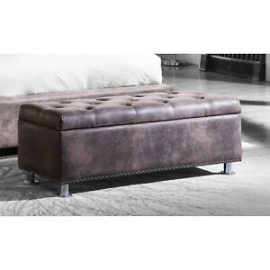 MODERN ANTIQUE BROWN TUFTED BUTTONED OTTOMAN TRUNK STORAGE BOX✅WARRANTY INCLUDED