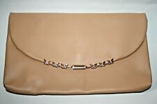Dorothy Perkins Women's Classic Nude Rectangular Clutch Party Bag Purse 30x18cm