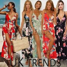 db56284cf63 UK Womens Floral V Ladies Jumpsuits Playsuits Print Beach Holiday Summer  Dress