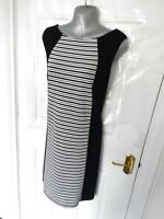 ❤ M&CO Size 18 Black White Stripe Stretchy Wiggle Pencil Dress Occasion Smart