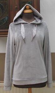 BLUE MOTION samtig weicher Kapuzen-Pullover silbergrau Nicki Gr S 36/38 NEUw