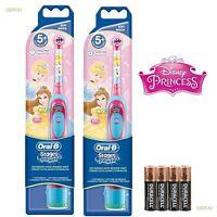 New Braun Oral-B Advance Power Girls Battery Toothbrush Disney Princess 2 Pack