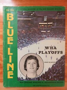 1975-76 BLUE LINE NEW ENGLAND WHALERS vs INDIANAPOLIS RACERS A Program RICK LEY